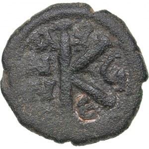Byzantine AE Half Follis - Justin II and Sophia (565-578 AD)