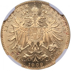 Austria 20 corona 1909 - NGC MS 63+