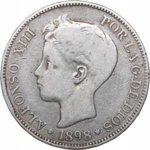 Spain 5 pesetas 1898