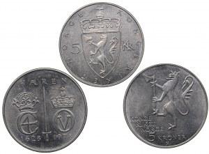 Norway 5 kroner 1975, 1978 (3)