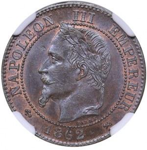 France 2 centimes 1862 K - NGC MS 64 BN