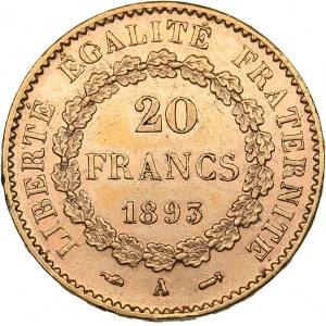 France 20 francs 1893 A