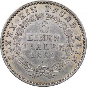 Germany - Anhalt-Bernburg 1/6 Taler 1862 A