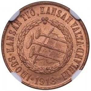 Finland 5 pennia 1918 - NGC MS 65 RD