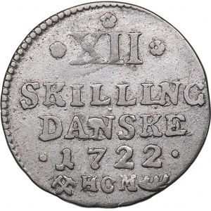 Denmark 12 skilling 1722