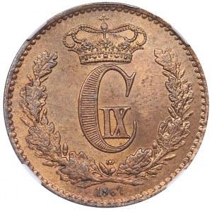 Denmark 1 skilling rigsmont 1867 - NGC MS 64 RB