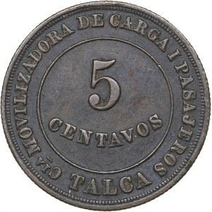 Chile 5 centavos (1884-1933 AD) Transport token, Talca