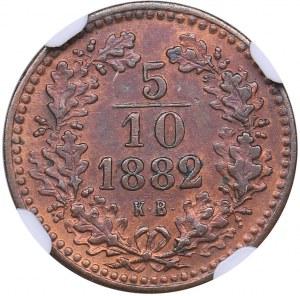Hungary 5/10 kreuzer 1882 KB - NGC UNC Details