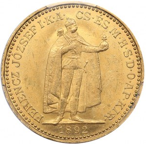 Hungary 20 corona 1892 KB - PCGS MS63