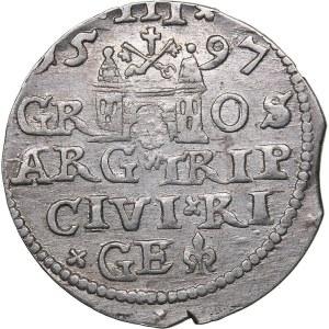 Riga - Poland 3 grosz 1597 - Sigismund III (1587-1632)