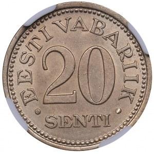 Estonia 20 senti 1935 - NGC MS 64