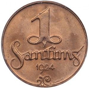 Latvia 1 santims 1924 - PCGS MS64RD