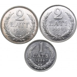 Latvia 2 lati 1925, 1926; 1 lats 1924 (3)