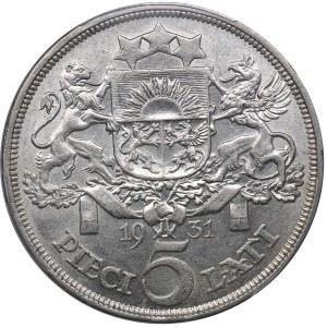 Latvia 5 lati 1931 - PCGS AU58