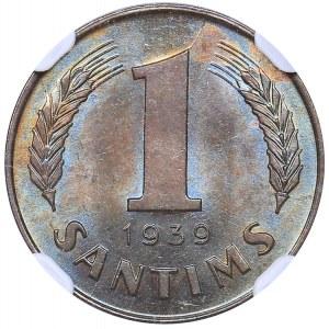 Latvia 1 santims 1939 - NGC MS 63 BN