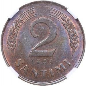 Latvia 2 santimi 1939 - NGC MS 64 BN
