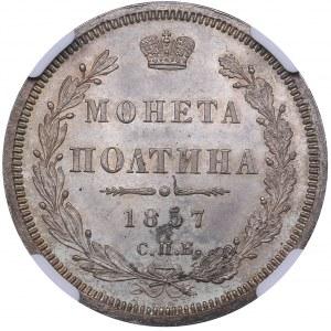 Russia Poltina 1857 СПБ-ФБ - NGC MS 65