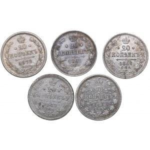 Russia 20 kopeks 1861, 1862, 1869, 1872, 1877 (5)