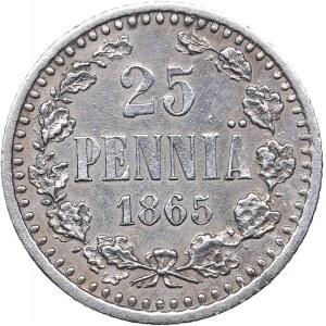 Russia - Grand Duchy of Finland 25 pennia 1865 S