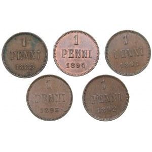 Russia - Grand Duchy of Finland 1 penni 1888, 1891, 1892, 1893, 1894 (5)