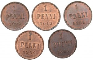 Russia - Grand Duchy of Finland 1 penni 1899, 1905, 1909, 1911, 1912 (5)