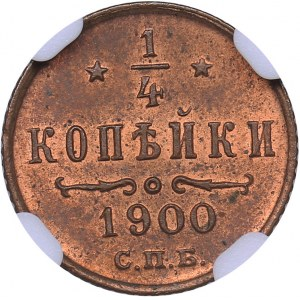 Russia 1/4 kopecks 1900 СПБ - NGC MS 63 RB