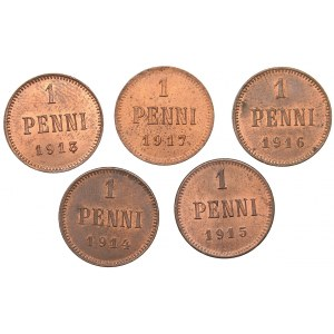 Russia - Grand Duchy of Finland 1 penni 1913, 1914, 1915, 1916, 1917 (5)