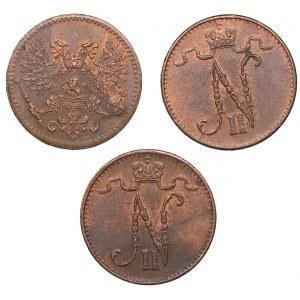 Russia - Grand Duchy of Finland 1 penni 1913, 1916, 1917 (3)