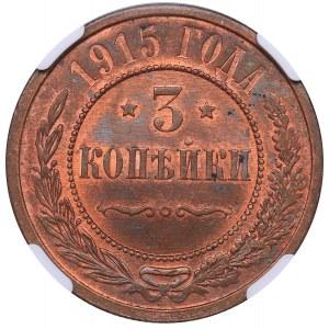 Russia 3 kopecks 1915 - NGC MS 65 RB