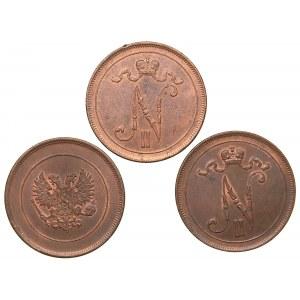 Russia - Grand Duchy of Finland 10 penniä 1916, 1917 (3)