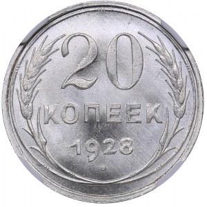 Russia - USSR 20 kopeks 1928 - NGC MS 67