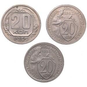 Russia - USSR 20 kopek 1932, 1933, 1935 (3)