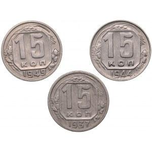 Russia - USSR 15 kopek 1937, 1944, 1949 (3)