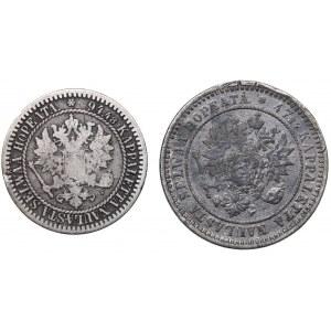 Russia - Grand Duchy of Finland 2 markkaa 1870, 1 markka 1866 (2)