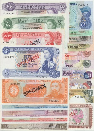 A complete set of Franklin Mint 1978 specimen notes. A total of 15 different countries and 73 notes.