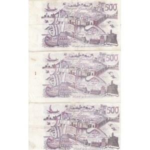 Algeria 500 dinars 1970 (3 pcs)