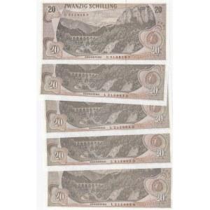 Austria 20 shillings 1967 (5 pcs)