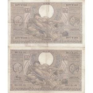Belgium 100 francs=20 belgas 1935 & 1936