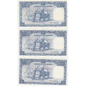 Burma 10 kyats 1958 (3 pcs)