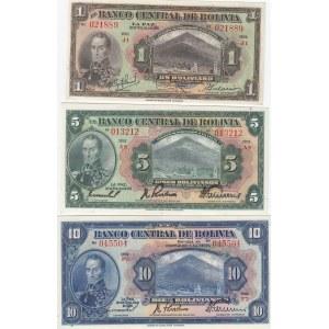 Bolivia 1, 5 & 10 bolivanos 1928