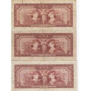 Brazil 5 mil reis 1925 (3 pcs)