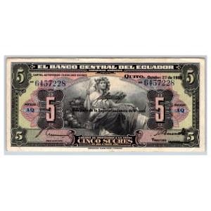 Ecuador 5 sucres 1938