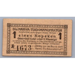 Estonia Narva The Cloth Mill 1 kopek 1918