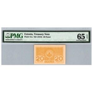 Estonia 20 penni 1919 - PMG 65 EPQ