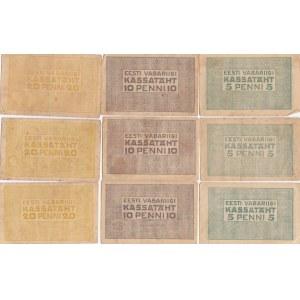 Estonia 5,10,20 penni 1919 (3 sets)