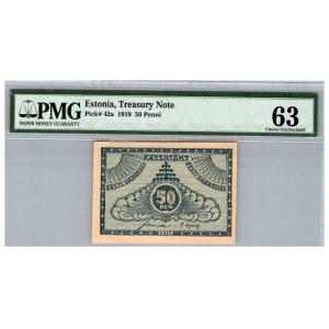 Estonia 50 penni 1919 - PMG 63