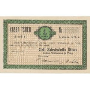 Estonian home currency Sindi Kalewiwabriku Ühisus 1 mark 1919. PROOF