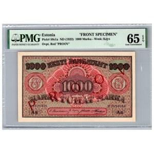 Estonia 1000 marka 1922 - PMG 65 EPQ - SPECIMEN (2)