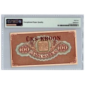 Estonia 1 kroon on 100 marka 1923 (1928) - PMG 55 EPQ