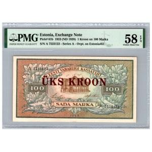Estonia 1 kroon on 100 marka 1923 (1928) - PMG 58 EPQ